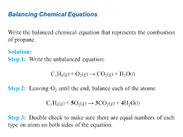 7 balancing chemical equations write the balanced chemical equation that represents the combustion of propane