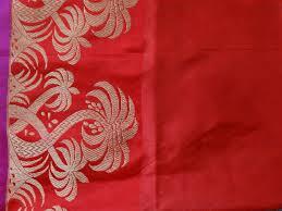 banarasee handloom katan silk saree with tree motif contrast bord