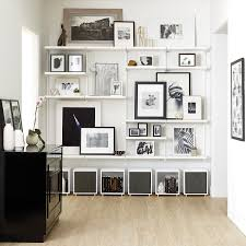 how to decorate a shelf in living room white u0026 white elfa décor shelving wall the container store