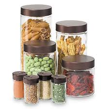 oggi kitchen canisters oggi 8 airtight glass canister and spice jar set with