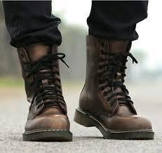 lace up moto boots retro punk mens combat military rock motorcycle ankle boots lace up