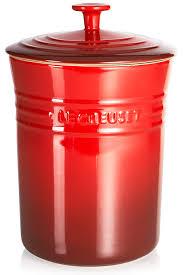 amazon com le creuset stoneware medium 4 quart canister cherry