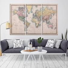 37915 large wall world map canvas print antique world