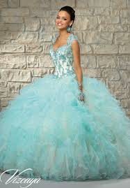 aqua green quinceanera dresses contrasting lace appliques on ruffled tulle with beading quinceanera