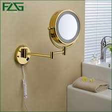 extendable magnifying bathroom mirror golden brass led light makeup mirrors 8 5 round dual sides 3x 1x