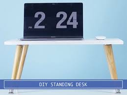 diy standing desk converter diy stand up desk converter costs less than 30 to get you standing
