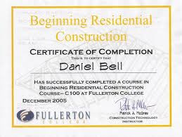 certificate of completion construction certificate of final