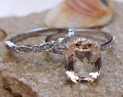 Promise Engagement And Wedding Ring Set unique engagement ring white gold morganite engagement u0026
