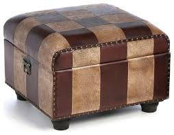 faux leather ottoman trunk w lid traditional footstools and