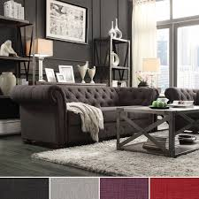 Tufted Chesterfield Sofa knightsbridge tufted scroll arm chesterfield sofa by inspire q