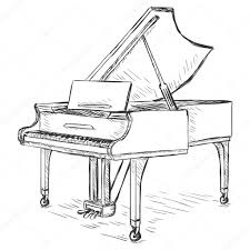 vector sketch grand piano u2014 stock vector nikiteev 42907781