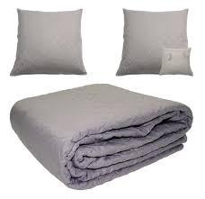 sofaã berwurf weiãÿ tagesdecke grau sofa bett überwurf plus 2 kissenhüllen 60x60 cm
