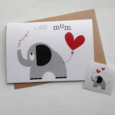heart and elephant u0027special step mum u0027 mothers day card by