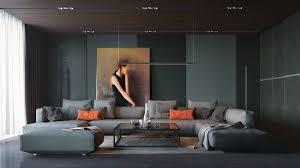 living room gray sofa gray rug white futons white pendant lights