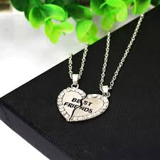 silver best friend necklace images Diamond bff best friends friendship heart pendant necklaces jpg