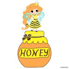 fairytale sweetheart princess bee cartoon girl cute hand drawing fairytale sweetheart princess bee cartoon girl cute hand drawing honey jar illustration on the of honeycomb
