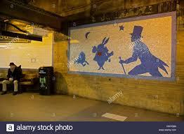an alice in wonderland mosaic at the west 50th street station on an alice in wonderland mosaic at the west 50th street station on the 1 and 2 line subway platform in midtown manhattan new york city