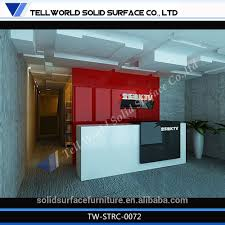 Small Salon Reception Desk by Moden Black And White Artificial Stone Front Office Small