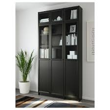 billy oxberg bookcase black brown glass ikea