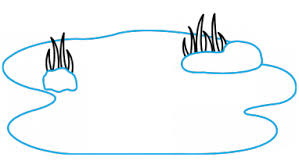 how to draw backgrounds nature a pond a grass easy step by
