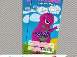 barney the dinosaur birthday party invitation ticket 1st barney