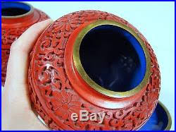 Cinnabar Vases Antique Chinese Carved Lacquer Cinnabar Pair Of Covered Vases