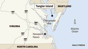 Virginia On Map by Map Tangier Island In Virginia Daily Press