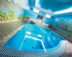 indoor swimming pool with wall arts and mosaic tiles also deep
