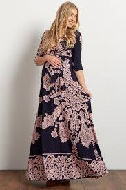 maternity dress navy pink printed draped maxi dress
