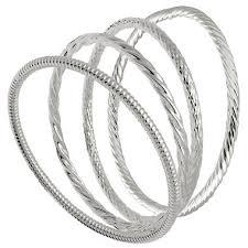 silver bracelet styles images Sterling silver bangle bracelets set of 4 assorted styles