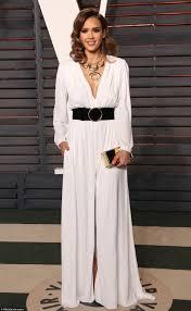 vanity fair author jessica alba wears plunging white gown at vanity fair u0027s oscar 2016