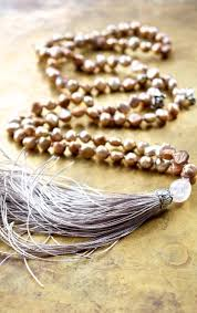 neutral color mala beads rose gold boho necklace blossom charm