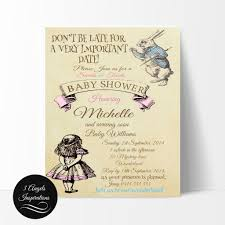 alice in wonderland baby shower invitation edit and print your