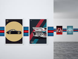 porsche martini logo garage wall stripe martini car bone pl