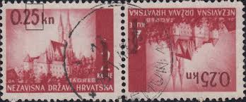 Shades Of Red Color Croatia 1942 Provisional Issue Postage Stamp World Stamps Project