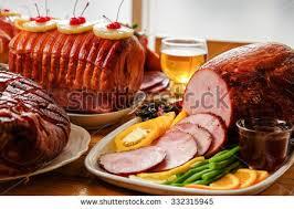 roasted turkey ham festive dinner stock photo 332315945