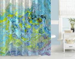 aqua shower curtain etsy
