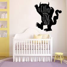 wall art vinyl decalspagesepsitename where the wild things are inspired vinyl wall decal ill eat you up i love