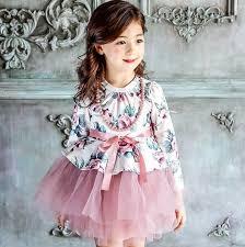 autumn new dress kids clothes long sleeve flora princess