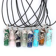 crystal quartz stone necklace images Fashion natural stone necklace pu leather cord phoenix pendant jpg