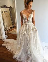 a line wedding dress a line v neck court ivory tulle wedding dress with lace