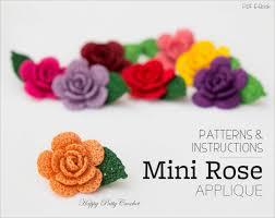 crochet mini rose pattern crochet flower applique pattern