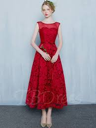 evening dress a line scoop bowknot lace sashes tea length evening dress