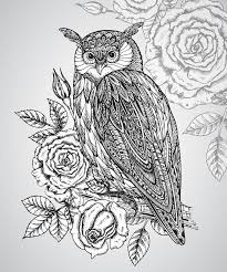 vector illustration of totem owl with roses stock