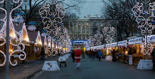 christmas decoration st petersburg russia winter evening stock