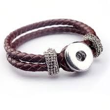 bracelet clasps diy images 15pcs lot diy snap button brown leather wrap bracelet metal snap jpg