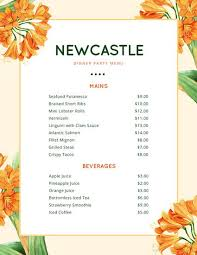 orange lily flowers dinner party menu templates by canva