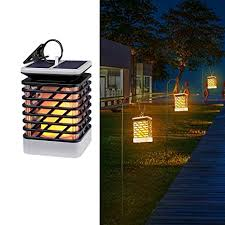 solar powered lantern lights amazon com espier solar lights outdoor led flickering flame torch