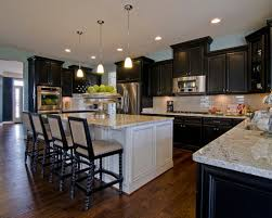 contemporary kitchen decorating ideas elegant white island and black cabinets combination for kitchen