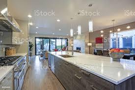 modern kitchen design pictures sleek modern kitchen design with a center island stock photo image now
